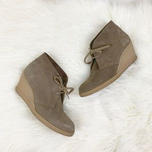 J. Crew Tan Suede Lace Up Wedge Booties
